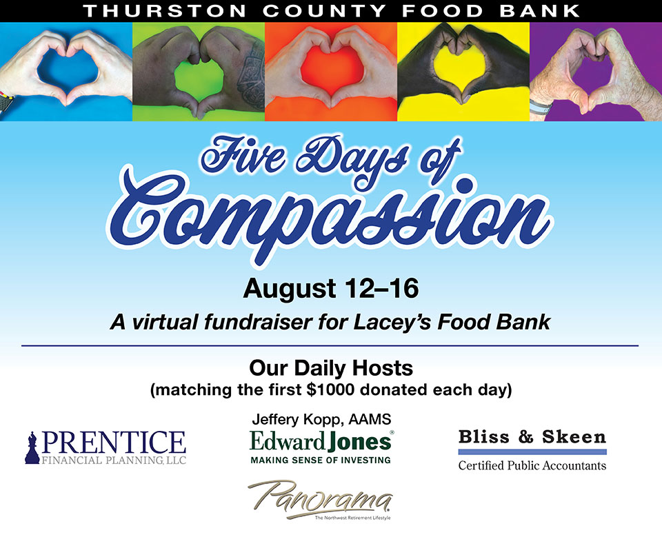 August 12-16 2020 5 Days of Compassion banner with sponsors (L-R) Prentice Financial Planning. Jeffrey Kopp Edward Jones Investing, Bliss and Skeen CPA